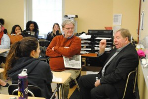 Howard Wilkinson and Ken Rudin discuss the field of Journalism with journalism students at Walnut Hills High School.